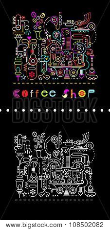 Coffee Shop Neon Colors Illustration
