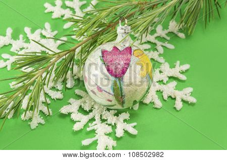 Decoupage Decoratred Christmas Ornament Ball