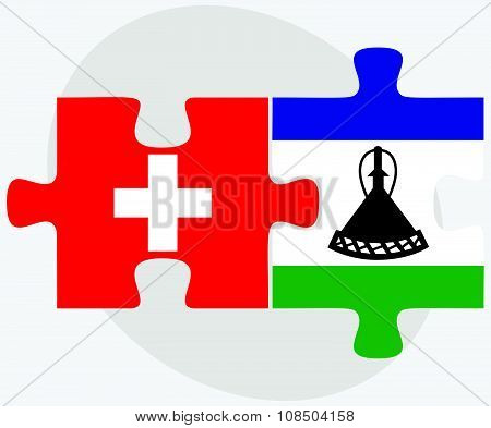 Switzerland And Lesotho Flags