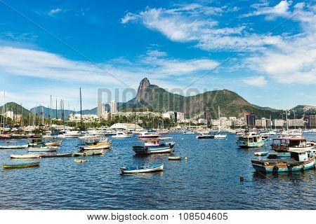 Boats on Guanabara bay in Rio de Janeiro, Brazil