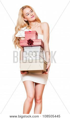 Young Blond Woman With Gift Boxes.