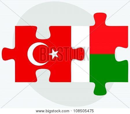 Turkey And Madagascar Flags