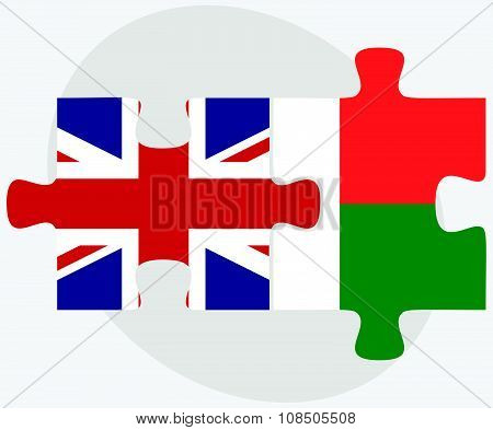 United Kingdom And Madagascar Flags