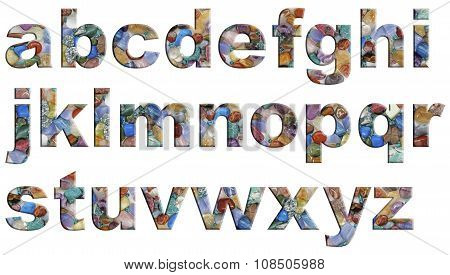 Crystal Tumbled Stones Alphabet lower case letters