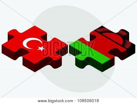 Turkey And Malawi Flags