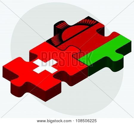 Switzerland And Malawi Flags