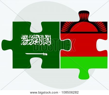 Saudi Arabia And Malawi Flags