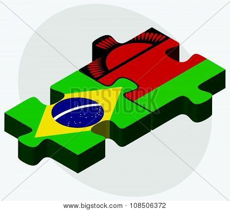 Brazil And Malawi Flags