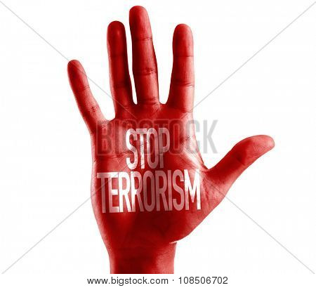 Stop Terrorism painted on hand isolated on white
