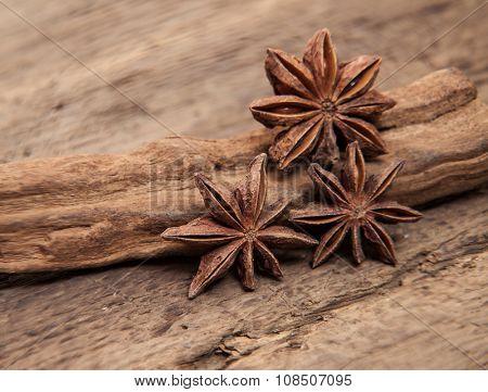 Fine star anis on wooden background