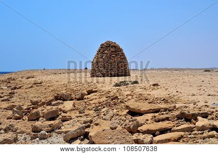 piles of stones in the desert