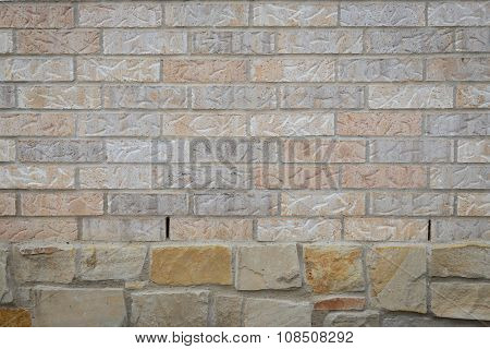 Brick Wall Background On Rocks