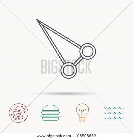 Pean forceps icon. Medical surgery tool sign.
