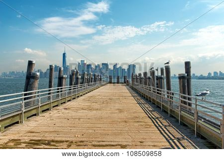 Picturesque View of New York City Skyline from Gull Lined Pier on Liberty Island on Sunny Day, New York City, New York, USA