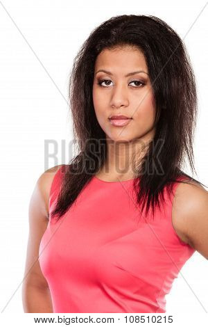 Fashion Mixed Race African Woman In Red Dress.