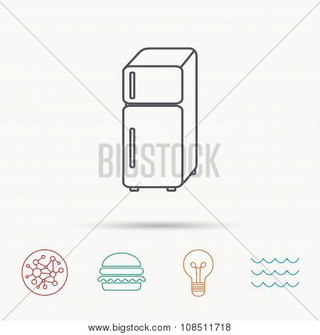 Refrigerator icon. Fridge sign.