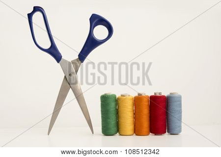 Multicolor Sewing Threads And Scissor
