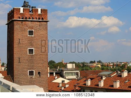 Ancient Tower Called Tower Of Torment In Piazza Delle Erbe In Vicenza