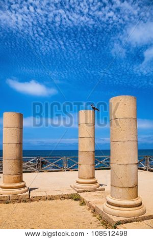 Ancient columns from the Roman period on the coast. National Park Caesarea, Israel
