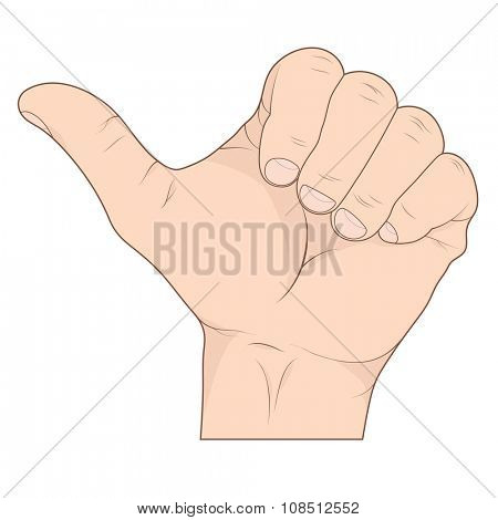 Thumb up hand sign, detailed vector illustration