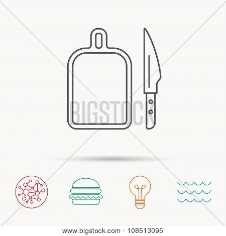 Separating board icon. Kitchen knife sign.
