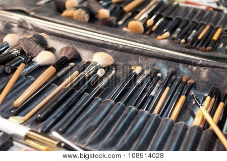 ZAGREB, CROATIA - OCTOBER 31, 2015: Used makeup brushes in backstage of the 'Fashion.hr' fashion show