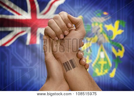 Barcode Id Number On Wrist Of Dark Skinned Person And National Flag On Background - Pitcairn Islands