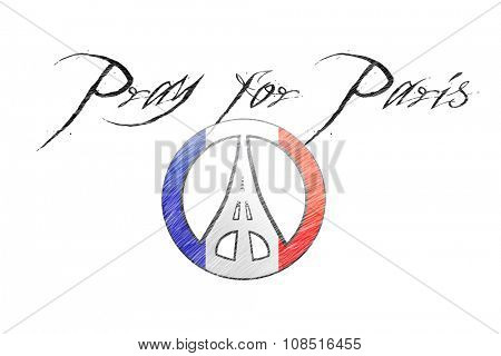 Pray for Paris sign. Sketch illustration of peace sign and Eiffel Tower combination agains flag of France.