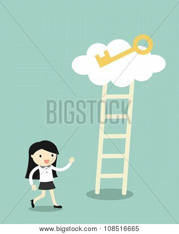 Business concept, Business woman going to climb the ladder for get a golden key.