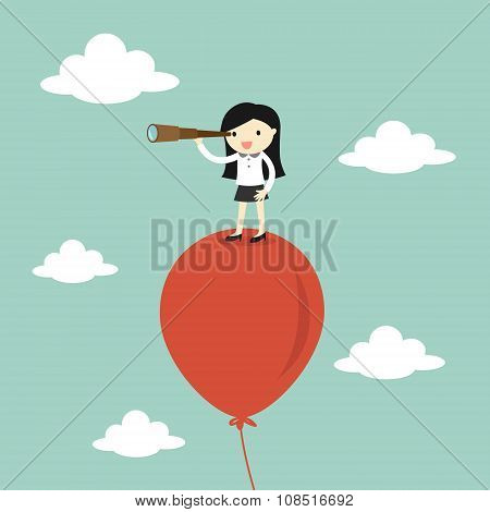 Business concept, Business woman using her telescope looking for something in the sky. Vector illust