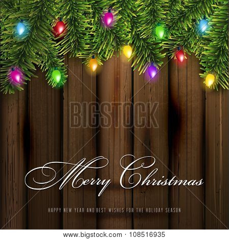 Christmas Greeting Card and lights.Vector