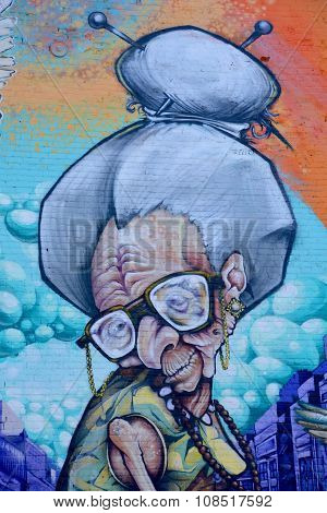 Street art grandma