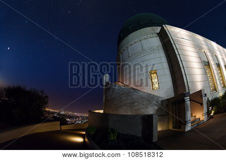 Griffith Observatory with shining stars on sky