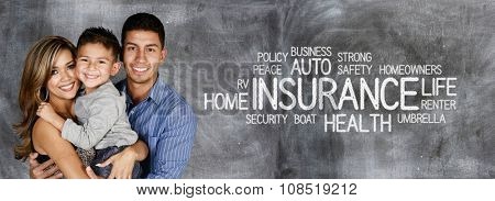 Young family who is getting insurance coverage