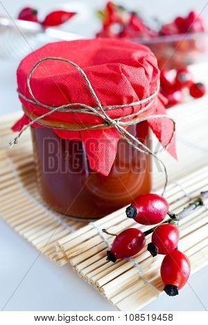 Homemade Rosehip Sauce In Glass Jar