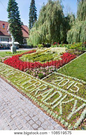 Flower Clock , Spa Town Podebrady, Central Bohemia, Czech Republic