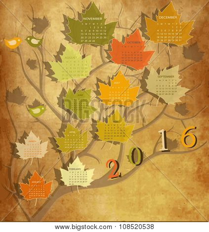 Tree shape Vintage calendar for 2016