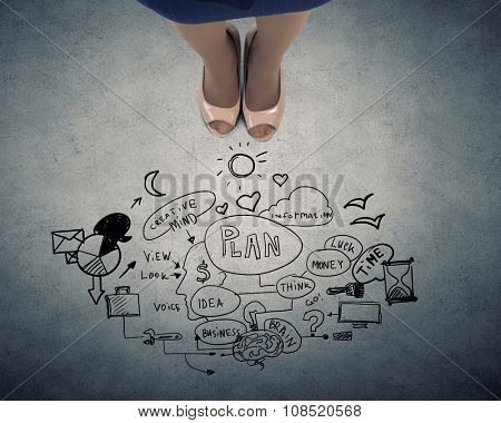 Top view of businesswoman feet and sketches on floor