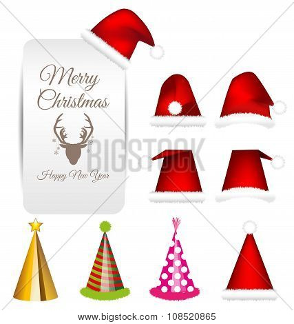 Santa Cap And Party Cap Vector Set For Christmas