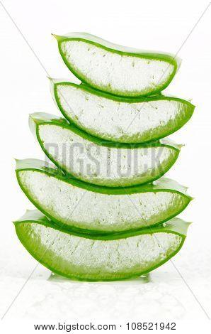 Slice Aloe Vera On White Background.