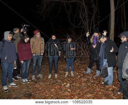 Stacy Leads Group In Prayer Before Paranormal Investigation
