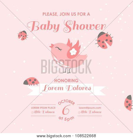 Baby Shower or Arrival Card - Bird and Ladybugs - in vector