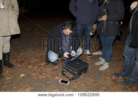 Ron Yacovetti Checks His Audio Device During Paranormal Investigation