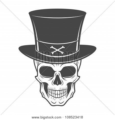 Steampunk skeleton with high hat. Smiling victorian bandit logo template. Wanted die or alive portra