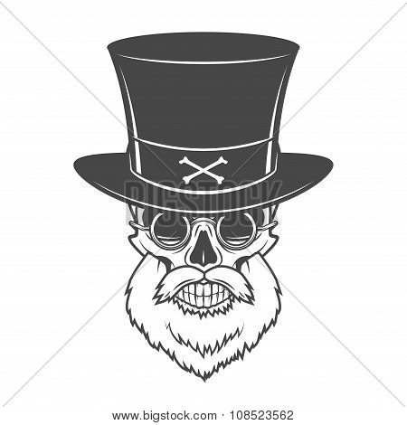 Head hunter skull with beard, hat and glasses vector. Victorian Rover logo template. Bearded old man