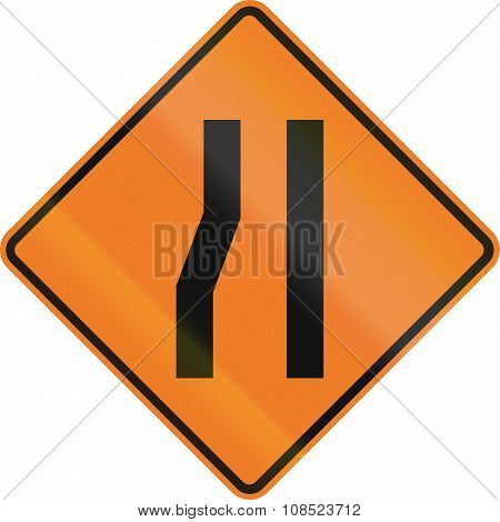 New Zealand Road Sign - Road Narrows On Left