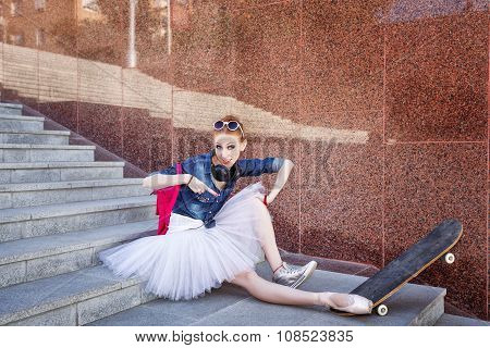 Ballet Dancer Hipster Sitting On The Stairs.