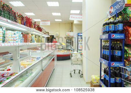 Puschino, Moscow region, Russia, August, 10, 15: Interior of supermarket in Puschino, Russia