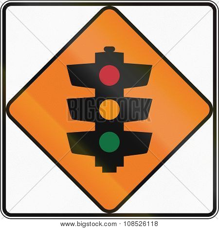 New Zealand Road Sign - Temporary Traffic Signals Ahead