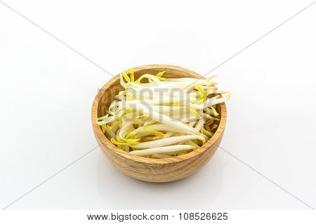 Bean Sprout In The Wood Bowl.